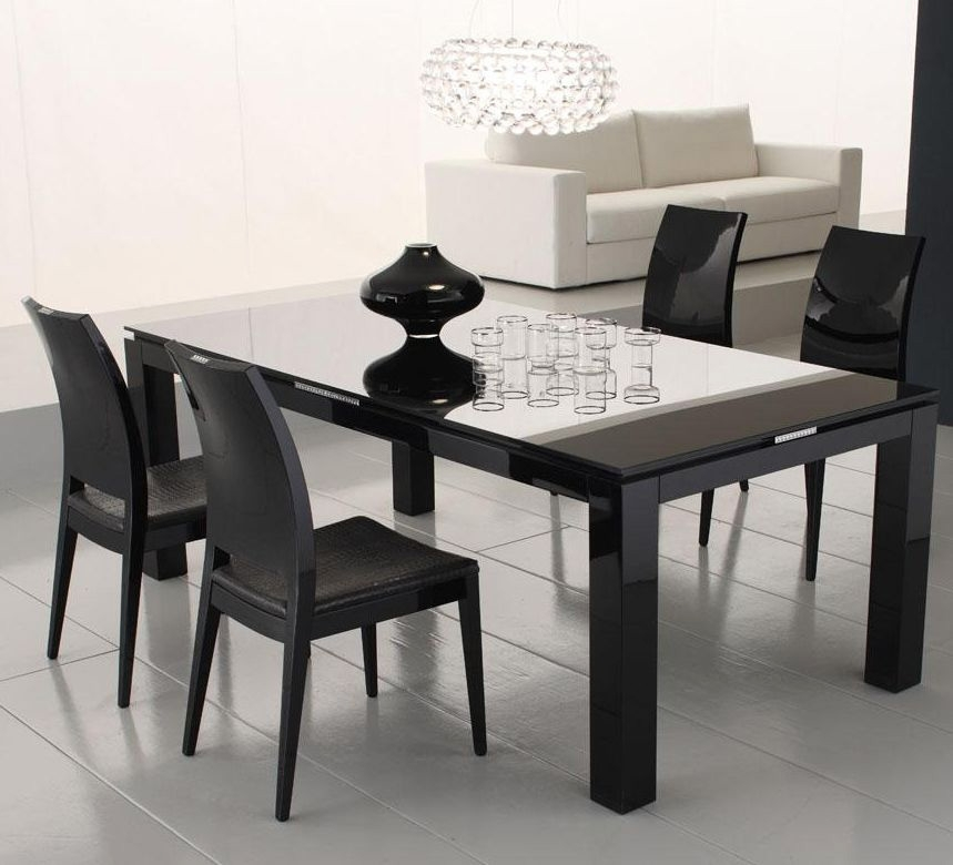 Diamond Black Dining Table With Glass Top | Dining Tables Within Dining Tables Black Glass (Image 8 of 25)