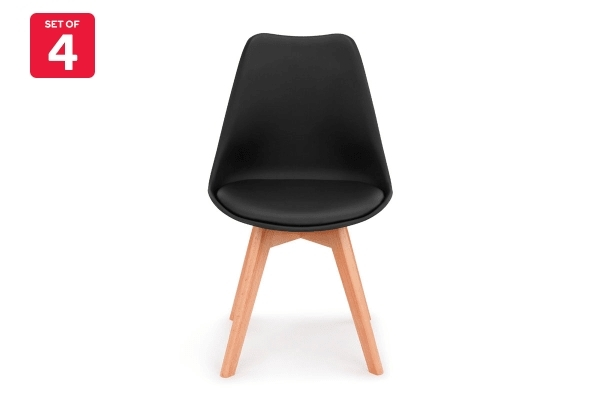 Dick Smith | Shangri La Set Of 4 Ester Dining Chairs (Black Throughout Black Dining Chairs (Image 8 of 25)