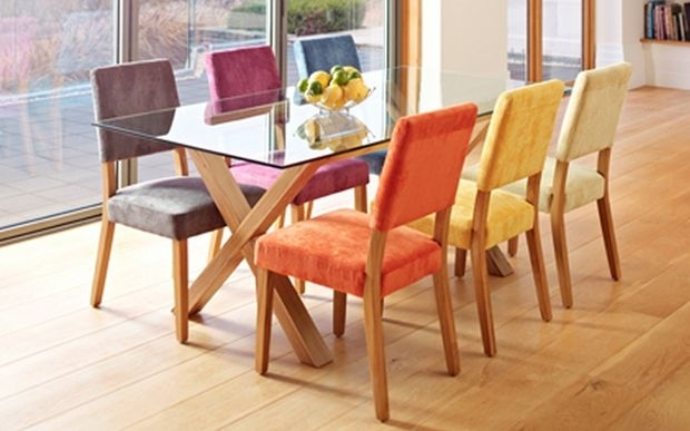 Different Coloured Dining Chairsa Oak And Glass Dining Table Inside Colourful Dining Tables And Chairs (Image 15 of 25)
