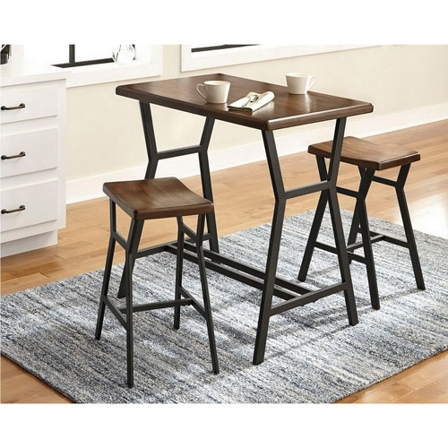 Dilllan Contemporary 3 Piece Bistro Set – Brown : Dining Sets – Best With Regard To Valencia 3 Piece Counter Sets With Bench (Photo 5 of 25)