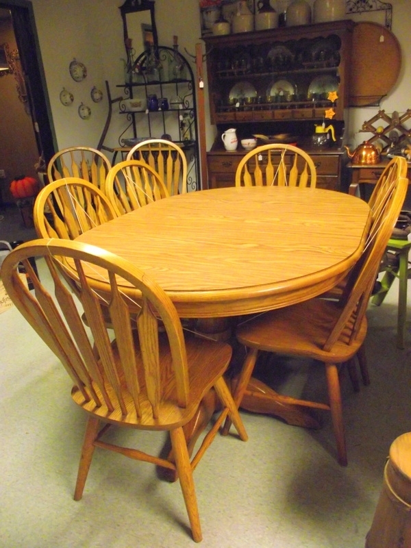 Dinaire Solid Oak Dining Room Set Double Pedestal Table 8 Chairs 3 Regarding Oak Dining Tables 8 Chairs (View 12 of 25)