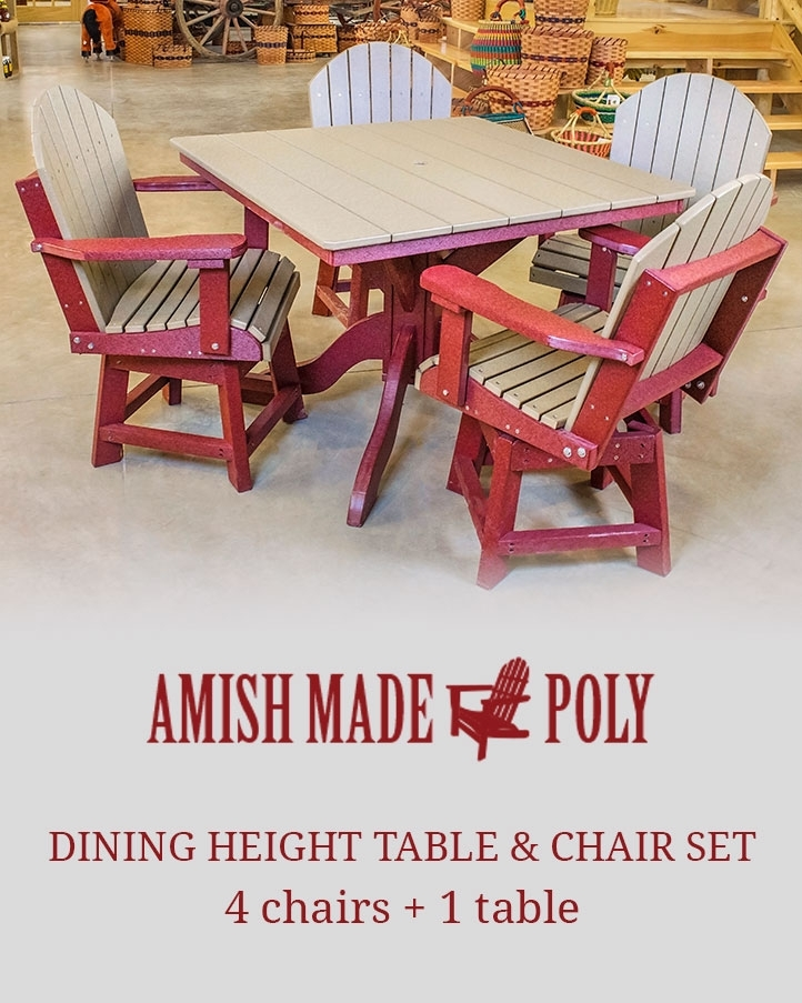 Dining Height Table & Chair Set – Amish Made Poly Inside Dining Table Chair Sets (Image 5 of 25)
