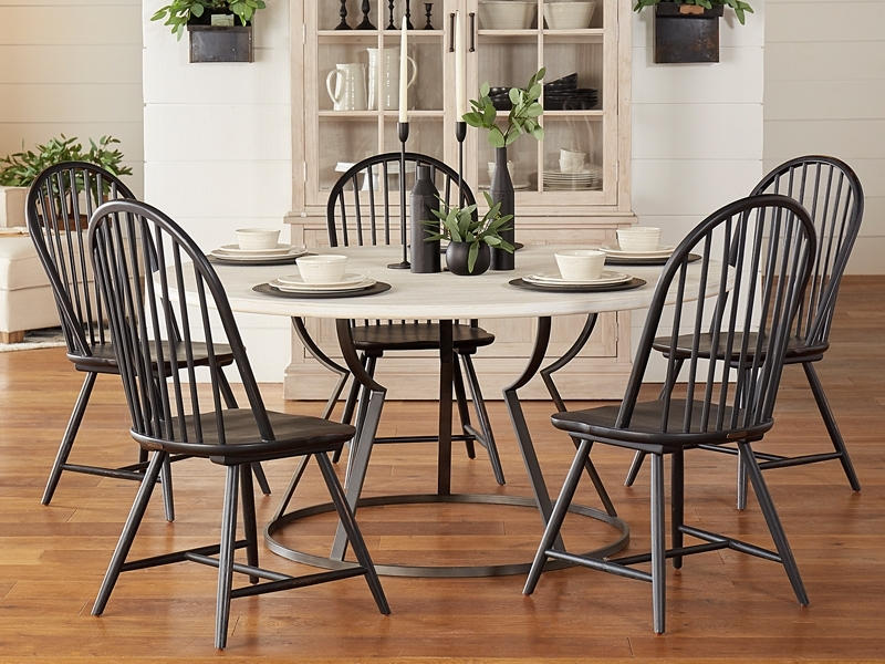 Dining Inside Magnolia Home Shop Floor Dining Tables With Iron Trestle (Image 4 of 25)