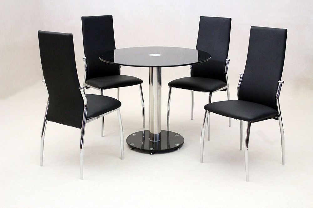 Dining Kitchen Table Set Black Glass Round Top Chrome Four Black Pertaining To Round Black Glass Dining Tables And Chairs (Image 6 of 25)