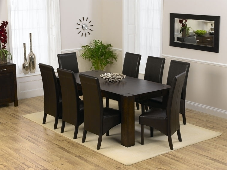 Dining Room 8 Seat Table Sets Leather Chair Cover Black, 8 Chair Throughout 8 Seater Round Dining Table And Chairs (Image 9 of 25)