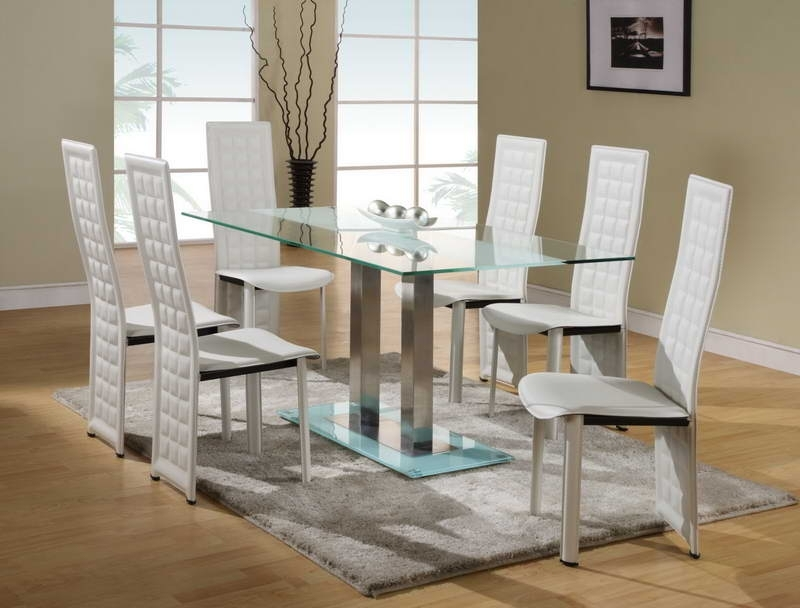 Dining Room: Best Glass Dining Room Sets Round Glass Dining Table Throughout White Glass Dining Tables And Chairs (Image 11 of 25)