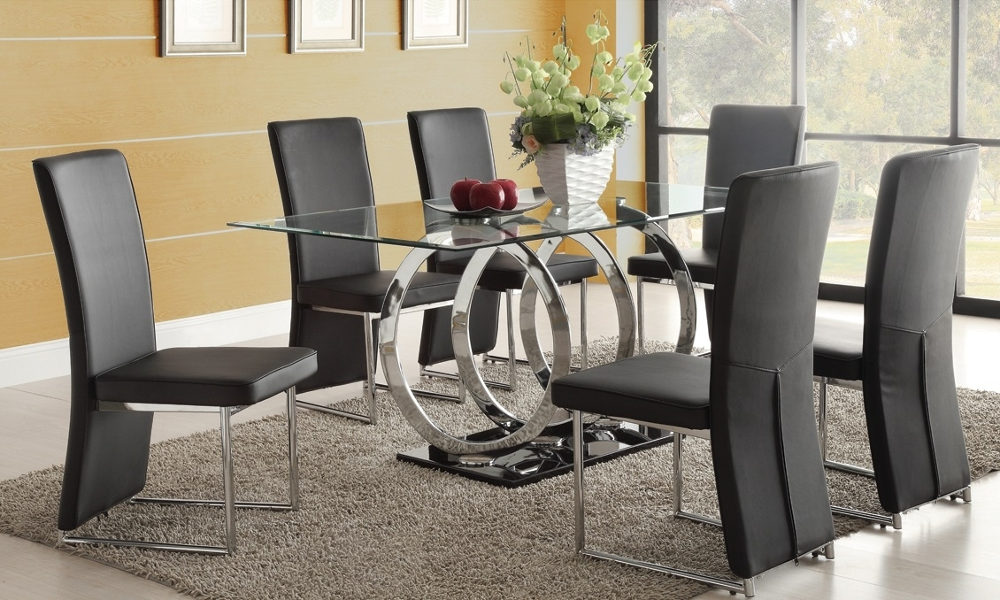 Dining Room Black Glass Dining Room Sets Glass Metal Dining Table Regarding Round Black Glass Dining Tables And Chairs (Image 7 of 25)