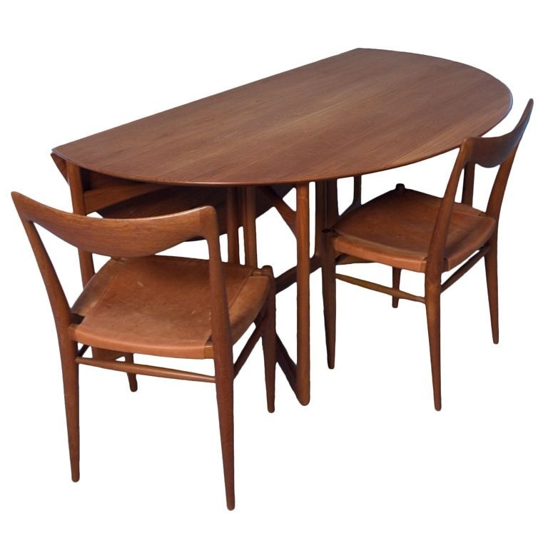 Dining Room: Classy Teak Folding Dining Table Set Design Ideas With With Oval Folding Dining Tables (Image 6 of 25)