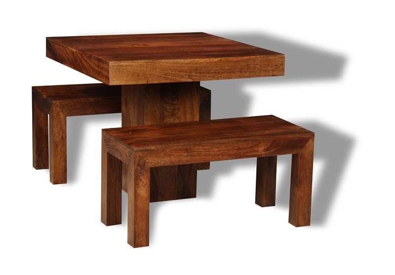 Dining Room Dakota Dark 90Cm Cube Dining Table & 2 Small Benches Throughout Dining Tables And 2 Benches (Image 14 of 25)