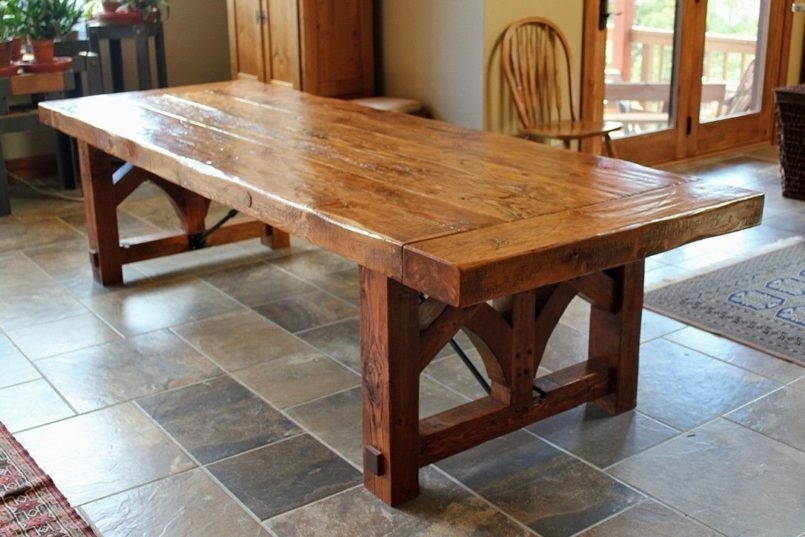 Dining Room Farmhouse Table And Chairs With Bench Skinny Farmhouse Within Barn House Dining Tables (Image 11 of 25)