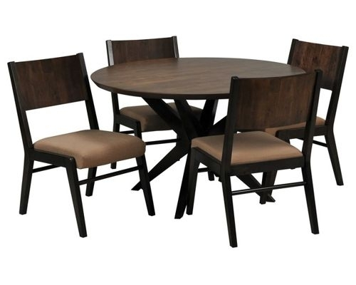 Dining Room Furniture for Jaxon Grey 5 Piece Round Extension Dining Sets With Upholstered Chairs