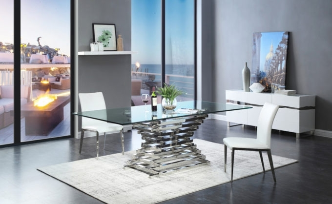 Dining Room: Home Decorations Ideas With Fabulous Contemporary Glass Pertaining To Crawford 6 Piece Rectangle Dining Sets (Image 17 of 25)