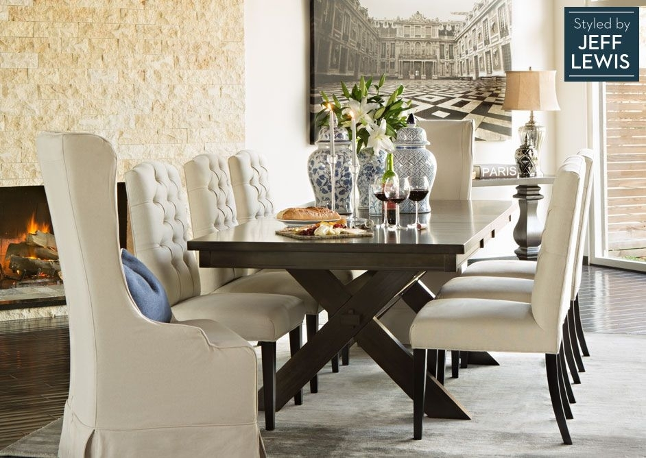 Dining Room Living Spaces: Laidback Luxury Styledjeff Lewis Inside Chapleau Ii 9 Piece Extension Dining Tables With Side Chairs (Image 9 of 25)