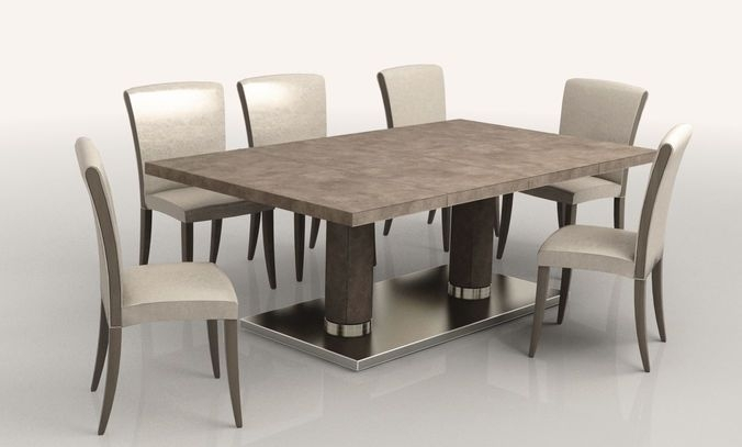 Dining Room Low Poly | 3D Model In Jaxon Grey 7 Piece Rectangle Extension Dining Sets With Uph Chairs (View 4 of 25)