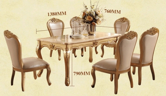 Dining Room Marble Dining Table Set Luxury European Style Restaurant For Dining Tables Sets (Image 4 of 25)