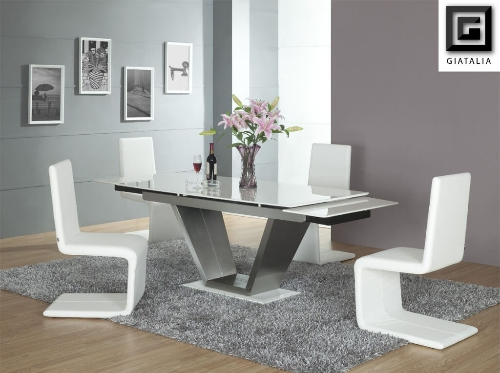 Dining Room: Marvelous White Rectangle Glass Dining Room Tables With Pertaining To Contemporary Dining Room Tables And Chairs (View 20 of 25)