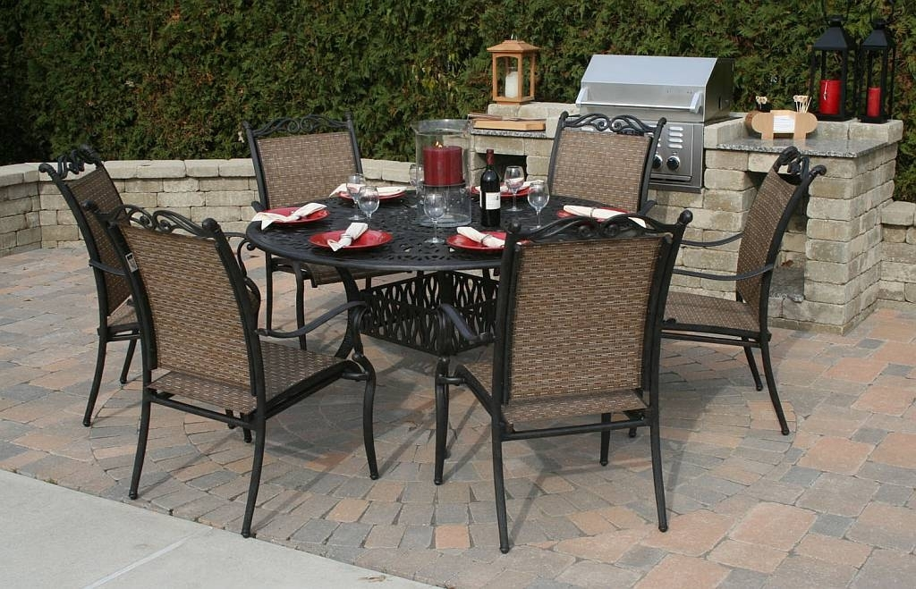 Dining Room Metal Top Outdoor Dining Table Wooden Garden Furniture Regarding Outdoor Dining Table And Chairs Sets (Image 8 of 25)