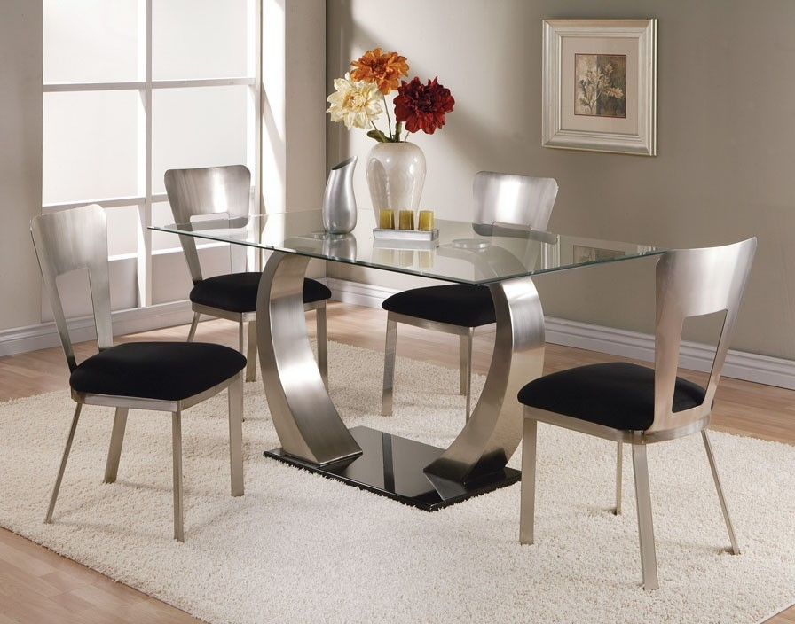 Dining Room Modern Glass Dining Table Extending Glass Table And With Regard To Round Black Glass Dining Tables And Chairs (Image 9 of 25)