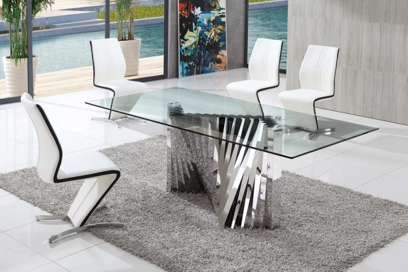 Dining Room Round Glass Dining Table With Chairs Dining Room Chairs Intended For Glass Dining Tables And Chairs (View 5 of 25)