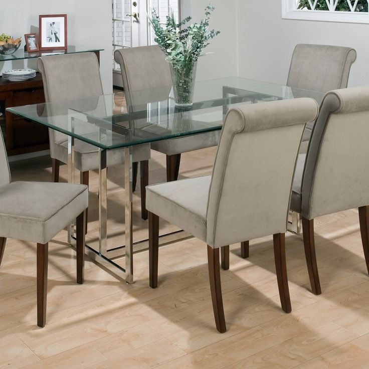 Dining Room Round Glass Dining Table With Chairs Dining Room Chairs Throughout Dining Room Glass Tables Sets (Image 12 of 25)