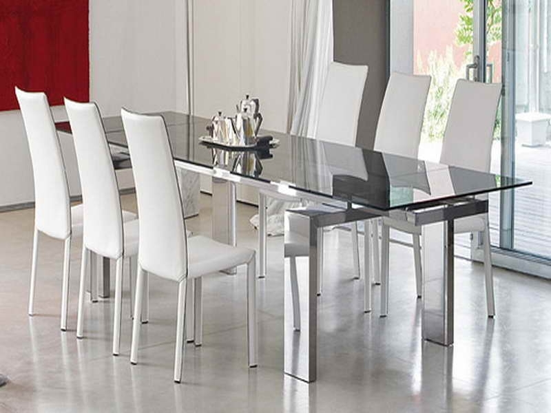 Dining Room Round Glass Dining Table With Chairs Dining Room Chairs Within Glass Dining Tables And Chairs (Image 9 of 25)