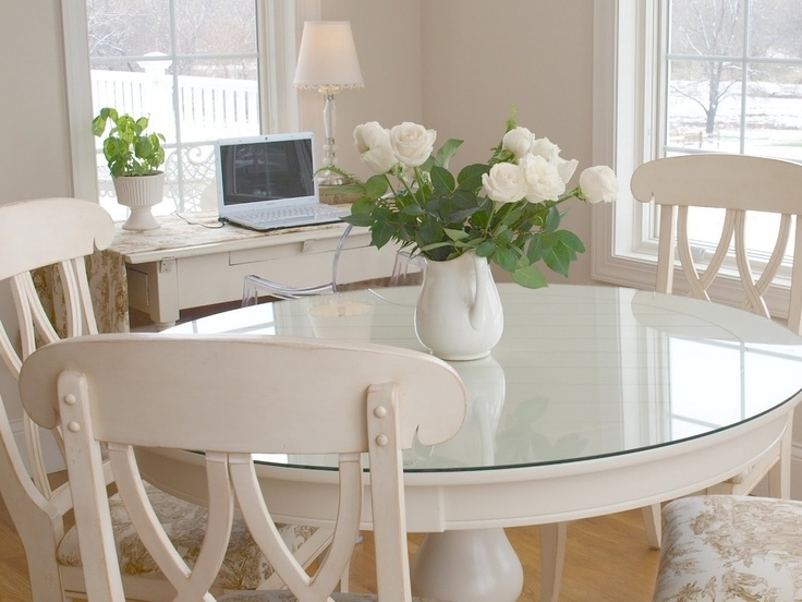 Dining Room Round Glass Table And Chairs Dining Table And Bench With Regard To Large White Round Dining Tables (View 16 of 25)