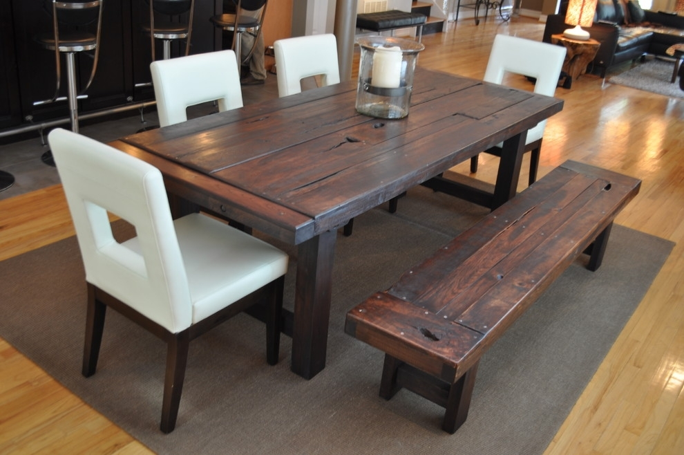 Dining Room Rustic Chic Dining Table White Dining Table Set With With Dark Wooden Dining Tables (Image 17 of 25)