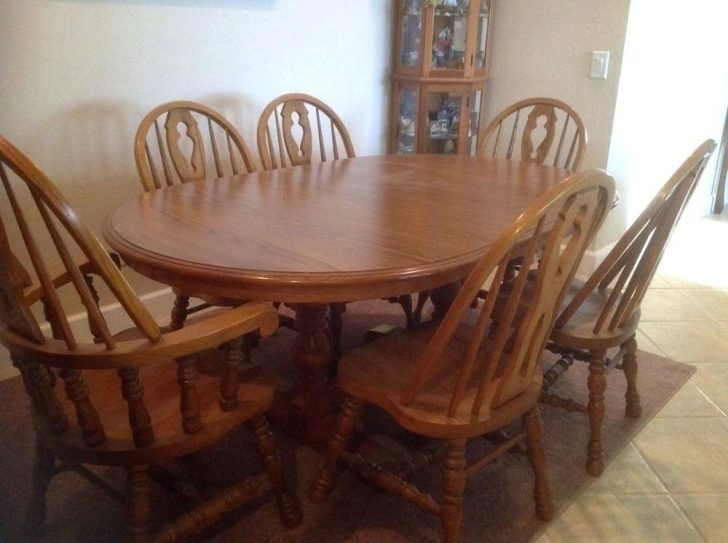 Dining Room Set 6 Chairs Decoratingcool Wood Table And Ikea Round Intended For Ebay Dining Suites (Image 12 of 25)