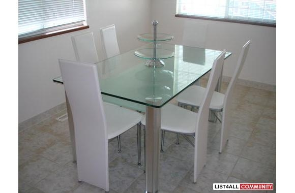 Dining Room Set. White Leather Chairs (View 18 of 25)