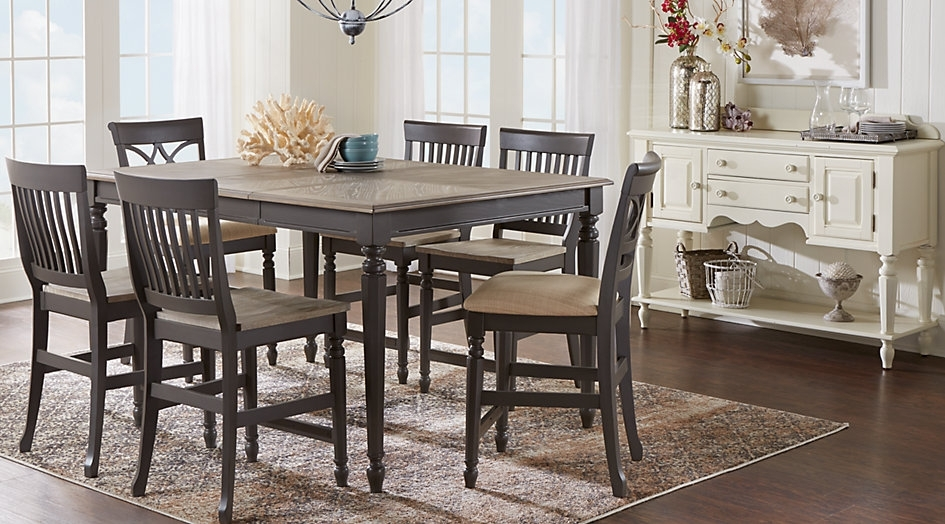Dining Room Sets Counter Height Within Cindy Crawford Home Ocean For Intended For Crawford 7 Piece Rectangle Dining Sets (View 14 of 25)