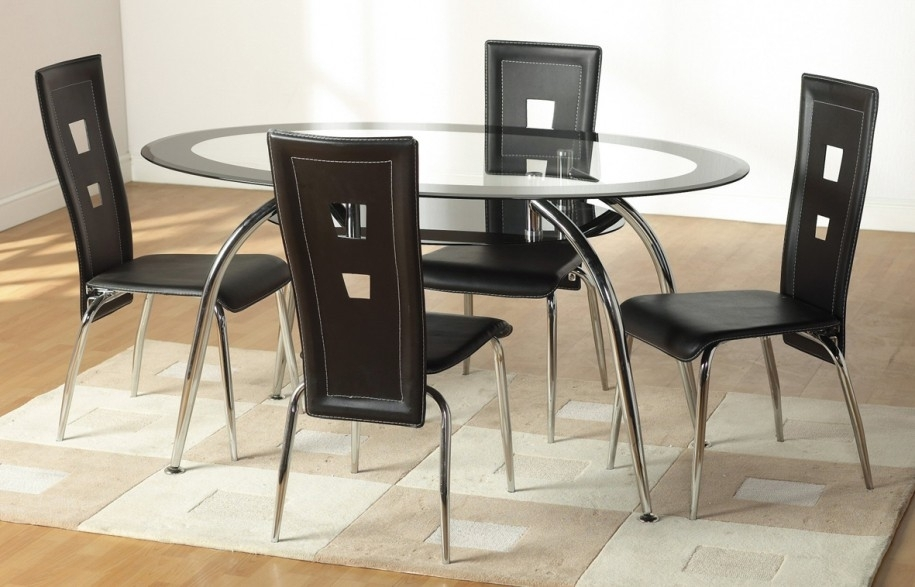 Dining Room Small Black Glass Table And Chairs Dark Glass Dining Regarding Round Black Glass Dining Tables And 4 Chairs (View 19 of 25)