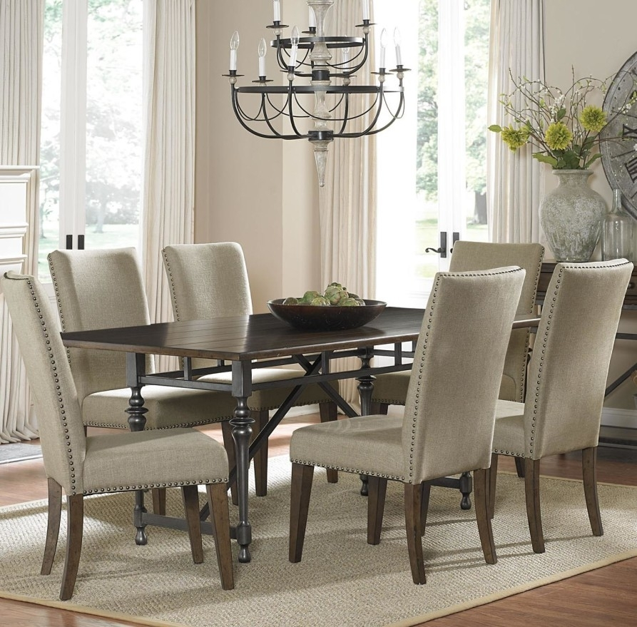 Dining Room Spectacular Dining Room Sets With Upholstered Metal Inside Jaxon 7 Piece Rectangle Dining Sets With Upholstered Chairs (Image 12 of 25)