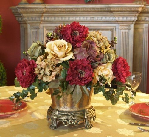 Dining Room Table Centerpiece Ideas | Dining Table Centerpieces Regarding Artificial Floral Arrangements For Dining Tables (Image 11 of 25)