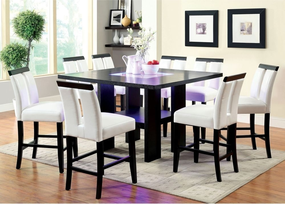Dining Room Table Square Counter Height Led Lights Tabletop Dark with regard to Dining Tables With Led Lights