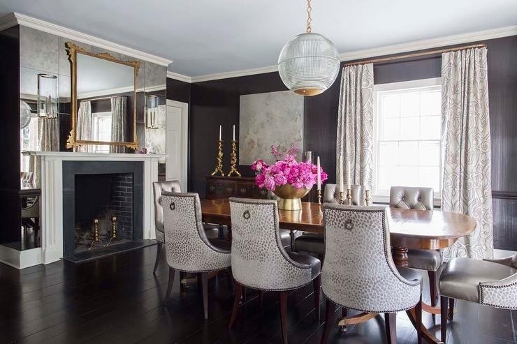 Dining Room With Antiqued Mirrored Fireplace Wall – Transitional For Antique Mirror Dining Tables (View 15 of 25)
