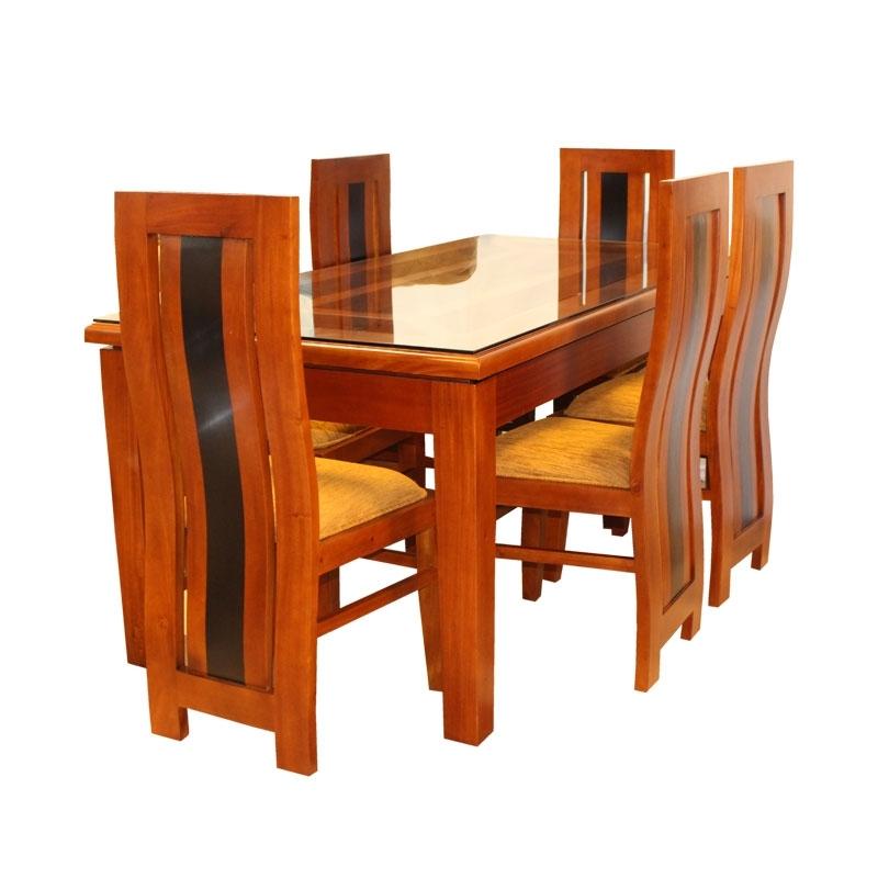 Dining Set Globle   Mahogany – 08 Seater – Arpico Furniture Regarding Wooden Dining Sets (Image 5 of 25)
