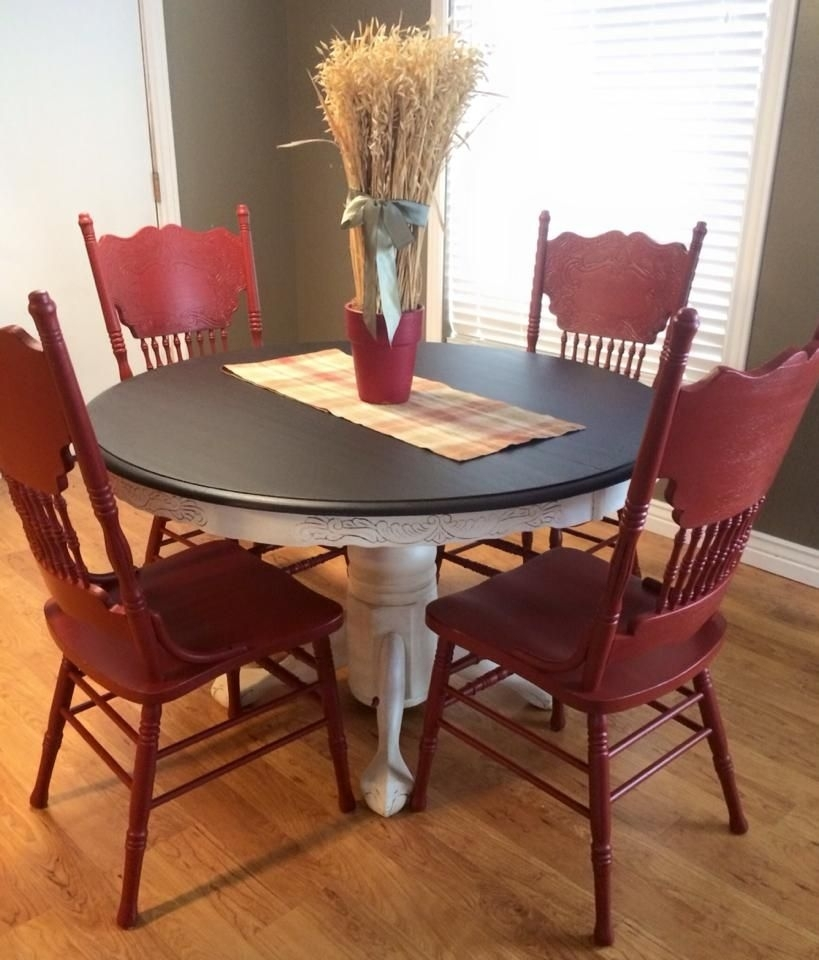 Dining Set In Java Gel Stain And Brick Red Milk Paint | Table For Red Dining Tables And Chairs (Image 8 of 25)