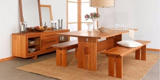 Dining Set – Teak Wood Dining Table With 2 Benches Tdt 2101   Timber With Regard To Dining Tables And 2 Benches (Image 15 of 25)