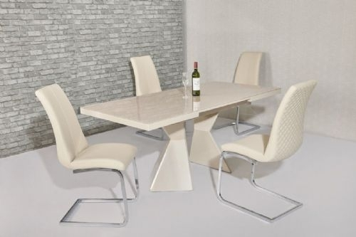 Dining Sets In Cream Gloss Dining Tables And Chairs (Image 8 of 25)