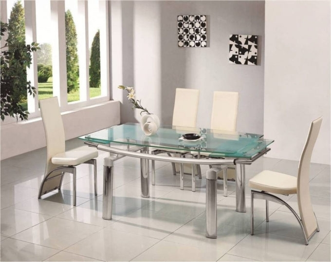 Dining: Splendiferous Glass Dining Table Set 6 Chairs For Your House Intended For Glass Dining Tables Sets (Image 10 of 25)