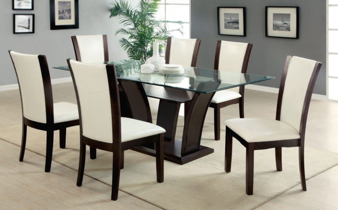 Dining: Stylish Glass Dining Table Sets 6 Chairs Your Home Idea Inside Glass Dining Tables 6 Chairs (View 19 of 25)