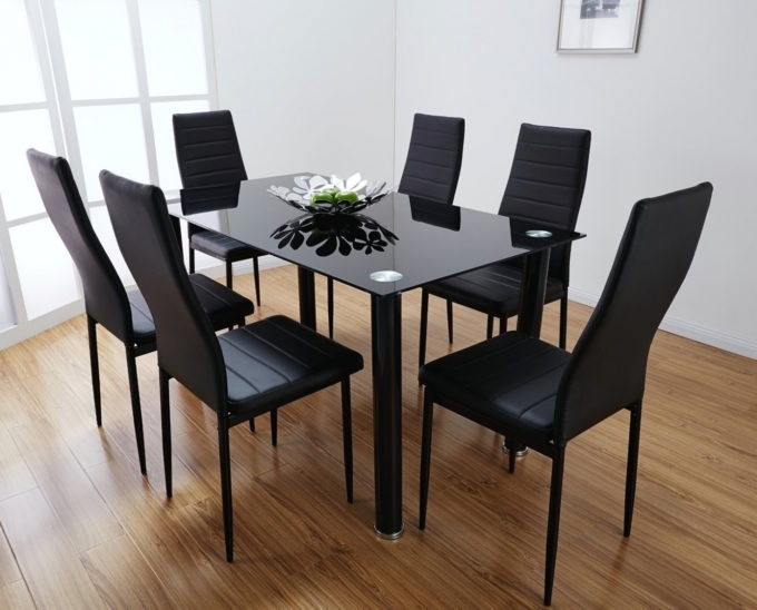 Dining: Stylish Glass Dining Table Sets 6 Chairs Your Home Idea Within Dining Tables With 6 Chairs (Image 20 of 25)