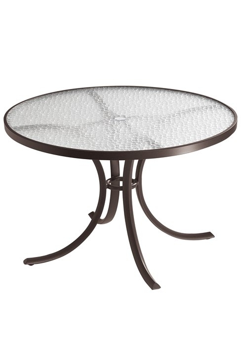 """Dining Table 42"""" Round Acrylic Top With Umbrella Hole – Hauser's Patio Pertaining To Acrylic Round Dining Tables (View 23 of 25)"""