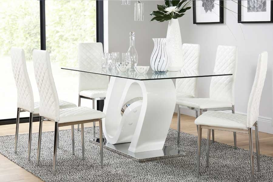 Dining Table & 6 Chairs - 6 Seater Dining Tables & Chairs with White Dining Tables With 6 Chairs