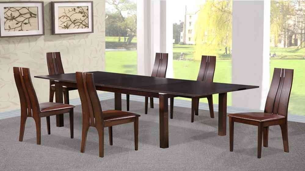 Dining Table And 6 Chairs In Beechwood Dark Walnut – Homegenies Inside Walnut Dining Table And 6 Chairs (Image 12 of 25)