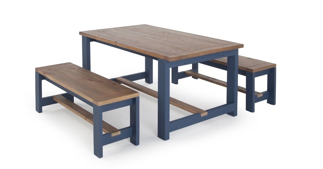 Dining Table And Bench Set, Solid Wood And Blue, Bala | Made With Blue Dining Tables (Image 10 of 25)