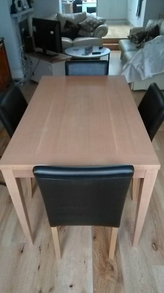 Dining Table And Four Faux Leather Brown Dining Chairs (Image 2 of 25)