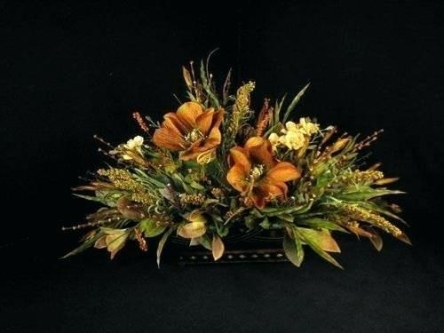 Dining Table Flower Arrangements Simple Large Silk Floral Pertaining To Artificial Floral Arrangements For Dining Tables (Image 15 of 25)