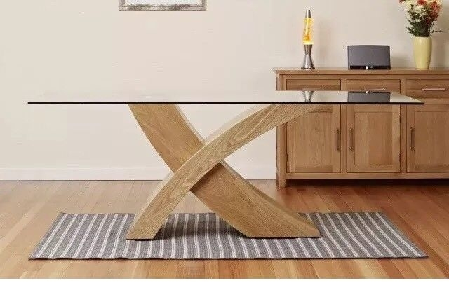Dining Table Glass Top Oak X Cross Legs Dining Room Furniture Modern Regarding Glass Dining Tables With Oak Legs (Image 7 of 25)