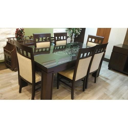 Dining Table Hard Top With Glass Top And Six Chairs At Rs 68000 Inside Dining Tables And Six Chairs (View 9 of 25)